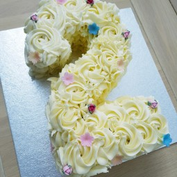 Number 2 rose buttercream cake
