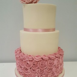 Rose and ivory wedding cake
