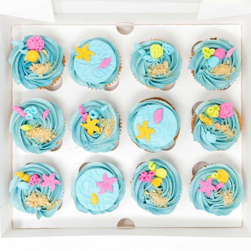 12 x Under the Sea Themed Cupcakes