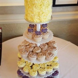 Wedding Cupcake Tower with Cake Topper